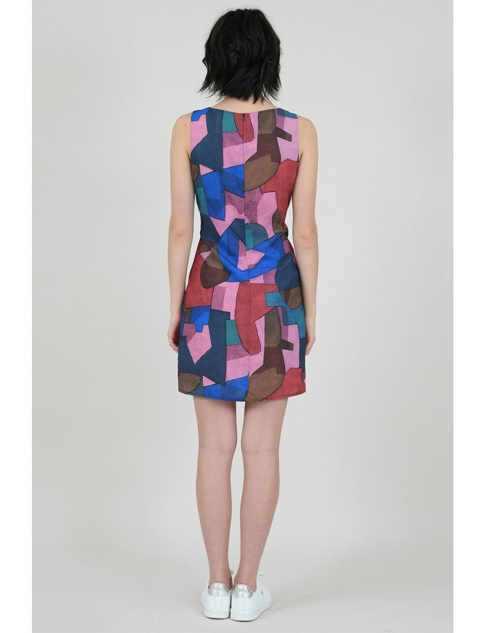Modern Print Shift Dress in Cubist Pink