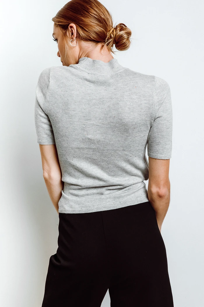 Adele Mock Neck Sweater in Heather Gray