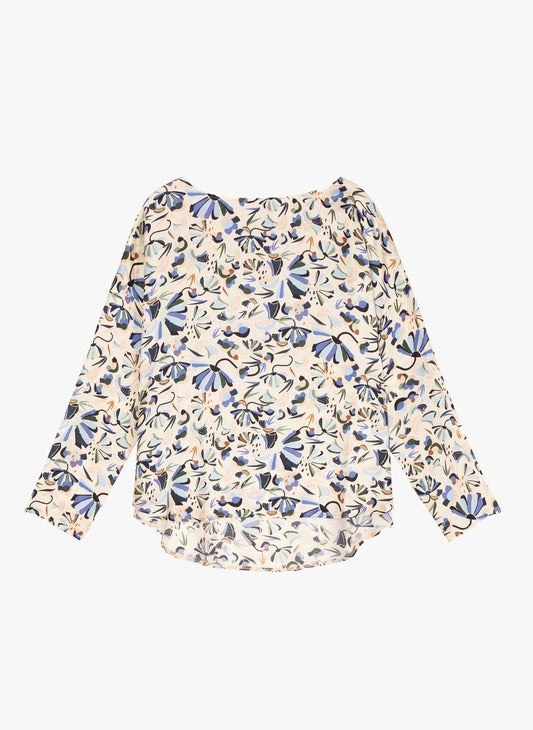 Cyriane Printed Blouse in Rose Bleu