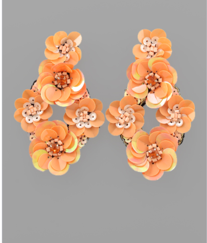 Diamond Shape Flower Cluster Earring in Orange Sherbert