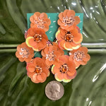 Load image into Gallery viewer, Diamond Shape Flower Cluster Earring in Orange Sherbert