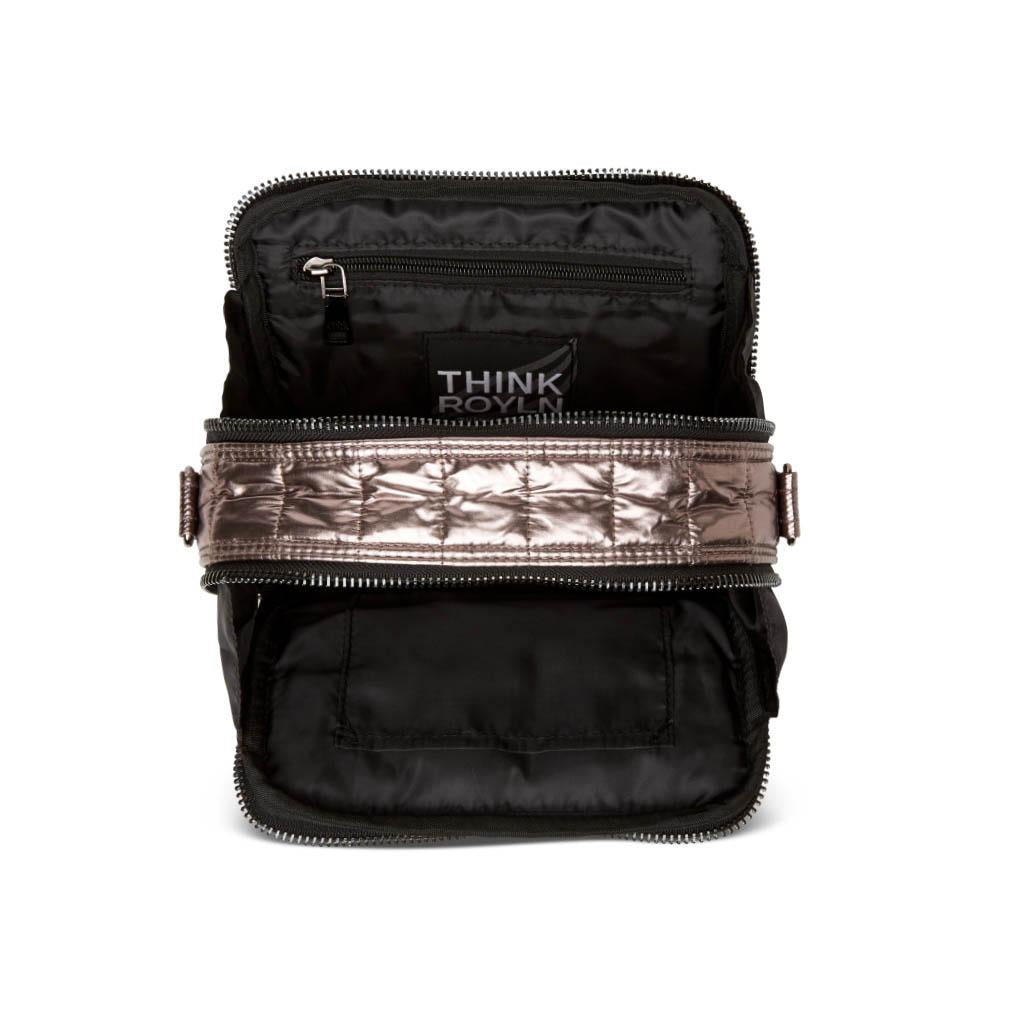 Diva Double Zip Bag in Slate Foil