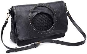 Vegan Madeline Messenger Bag in Black
