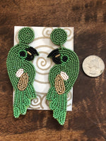Load image into Gallery viewer, Beaded Parrot Post Earring in Green