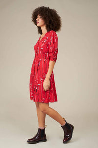 Felicity Lipstick Scribble Shirt Dress