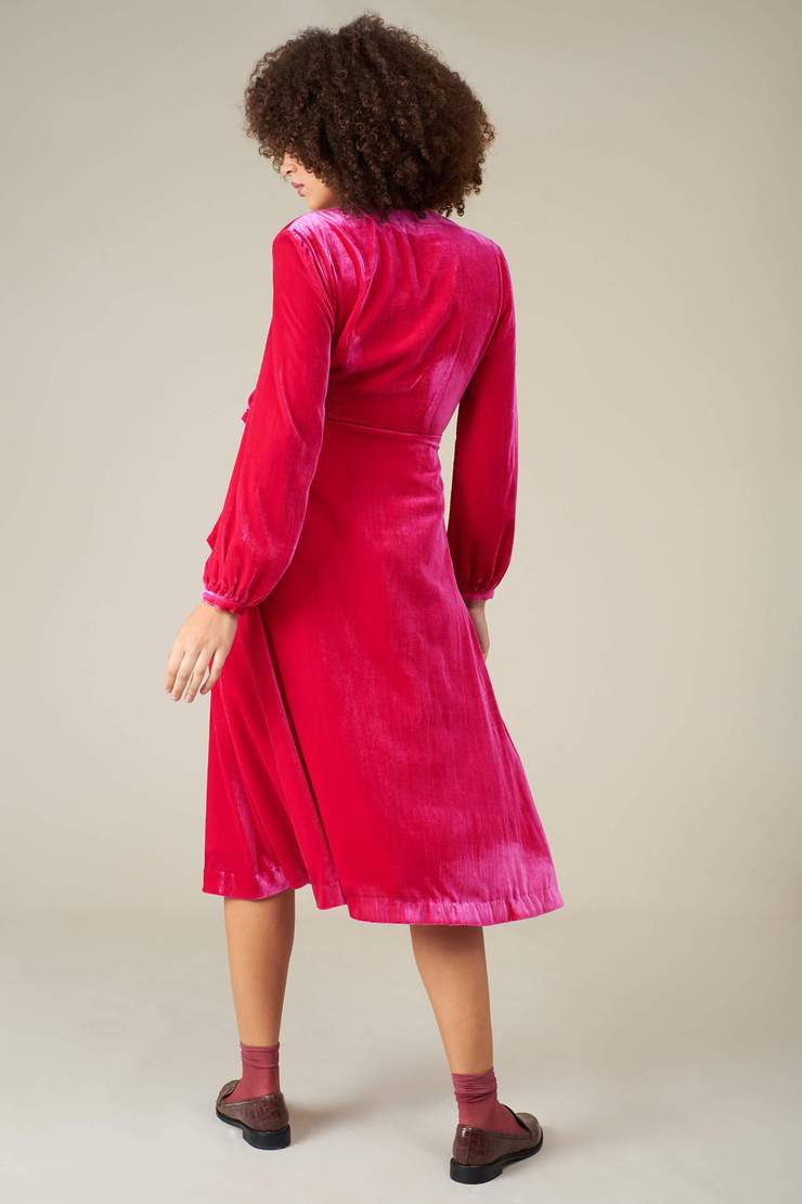 Velvet Luna Wrap Dress in Fuchsia