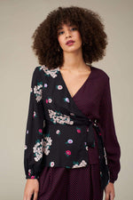Load image into Gallery viewer, Luna Wrap Top in Blossom/Dot