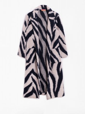 Emma Knit Coat in Zebra Navy/White