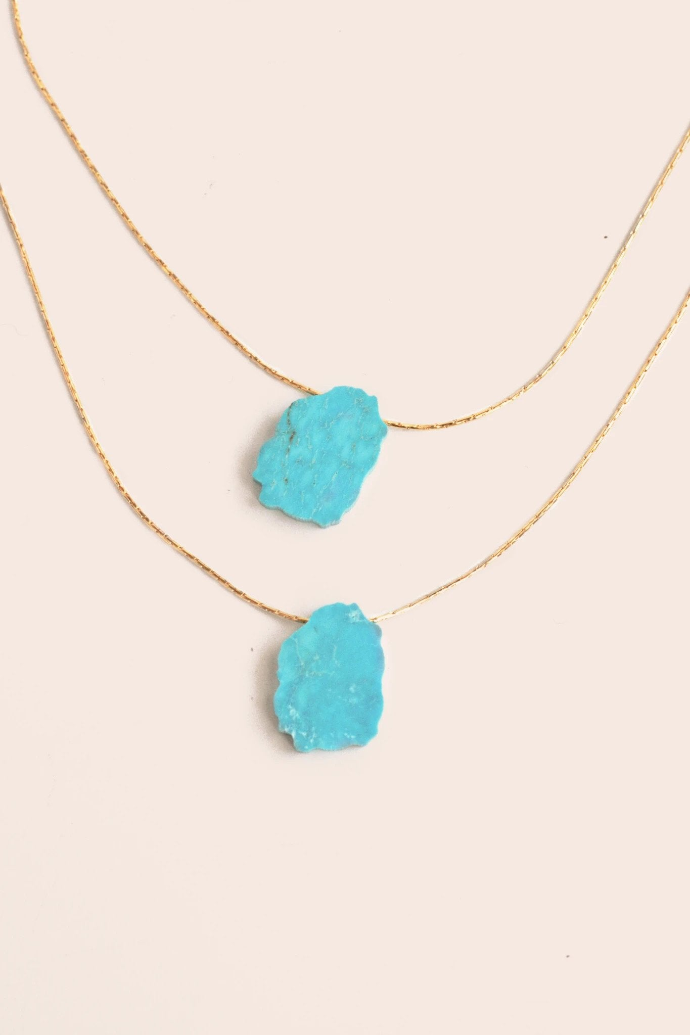 Double Layer Stone Necklace in Turquoise