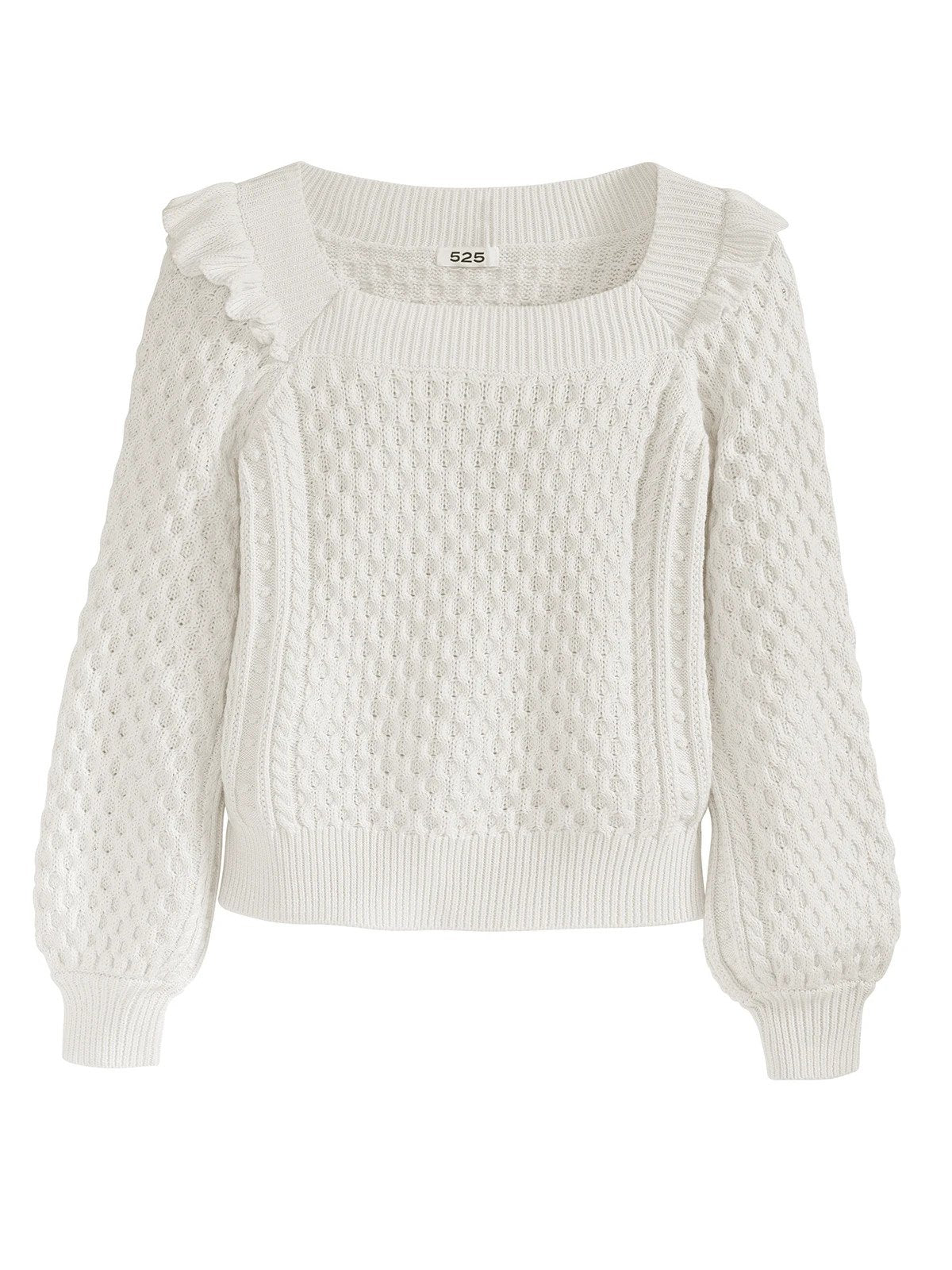 Ruffle Cable Knit Sweater in Chalk