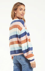Load image into Gallery viewer, Mercer Stripe Thermal Top in Washed Navy