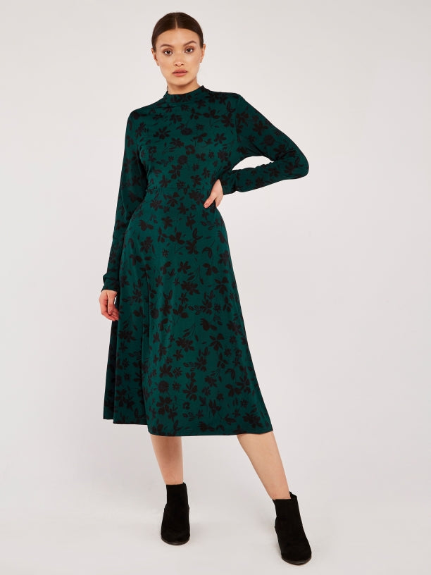 Floral Mock Neck Midi Dress in Pine