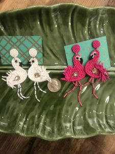 Beaded Flamingo Earrings in White