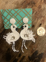 Load image into Gallery viewer, Beaded Flamingo Earrings in White