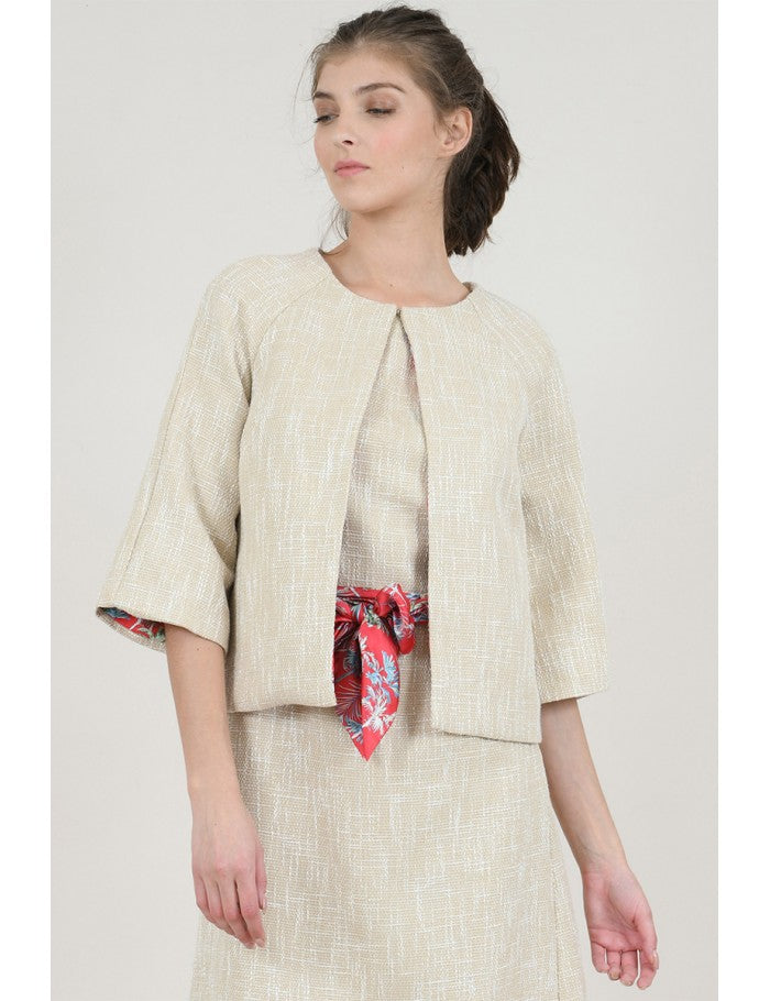 Textured Short Jacket with Printed Lining