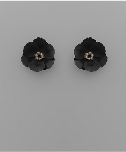 Small Flower Stud with Beaded Center in Black