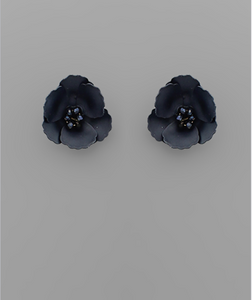 Small Flower Stud with Beaded Center in Navy