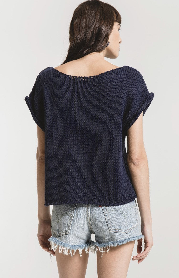 Fontelina Short Sleeve Sweater in Navy