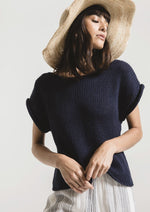 Load image into Gallery viewer, Fontelina Short Sleeve Sweater in Navy