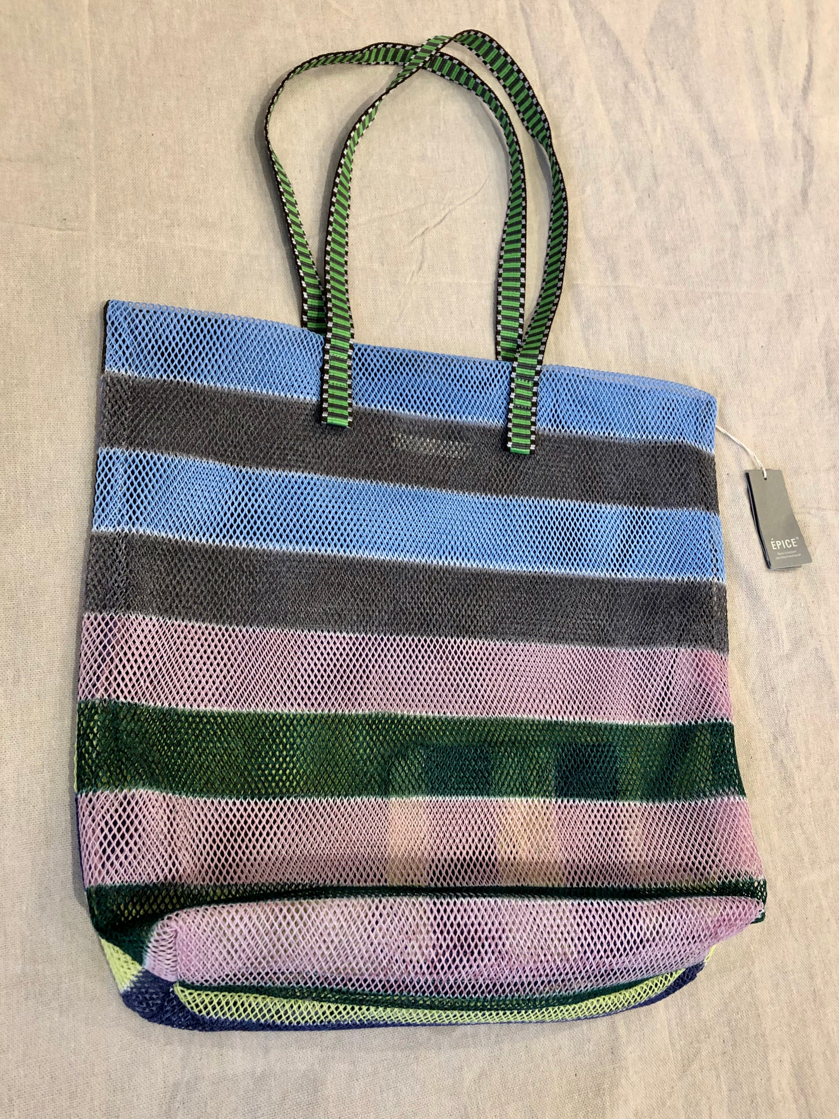 Epice Mesh Tote Bag in Forest Stripe