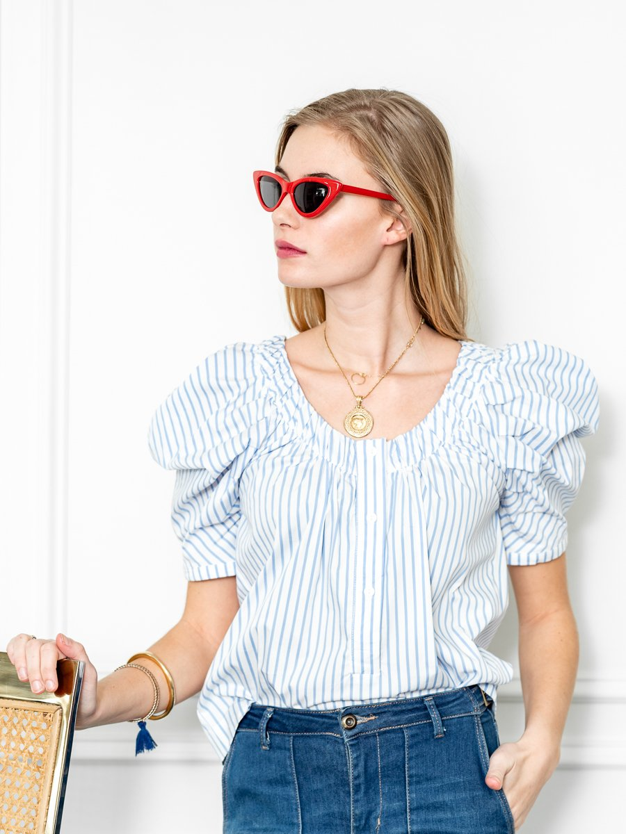 Puff Sleeved Shirt in Blue/White Poplin