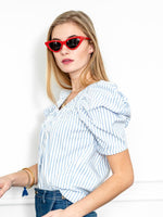 Load image into Gallery viewer, Puff Sleeved Shirt in Blue/White Poplin