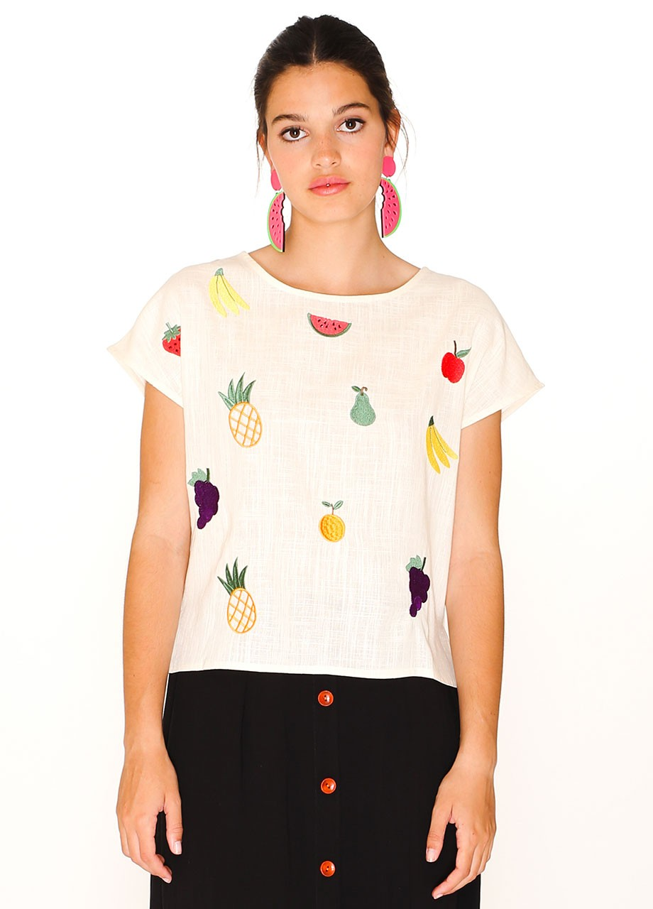 Embroidered Fruit Top