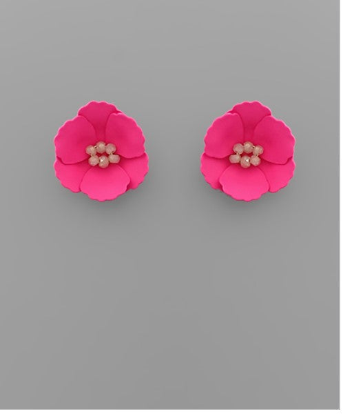 Small Flower Stud with Beaded Center in Fuchsia