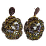 Load image into Gallery viewer, Beaded Flower Statement Earring in Gold Combo