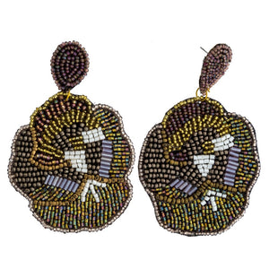 Beaded Flower Statement Earring in Gold Combo