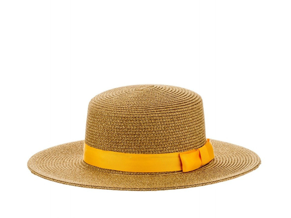 Structured Sun Hat with Ribbon in Gold