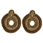 Load image into Gallery viewer, Beaded Oval Boho Earring in Gold Combo