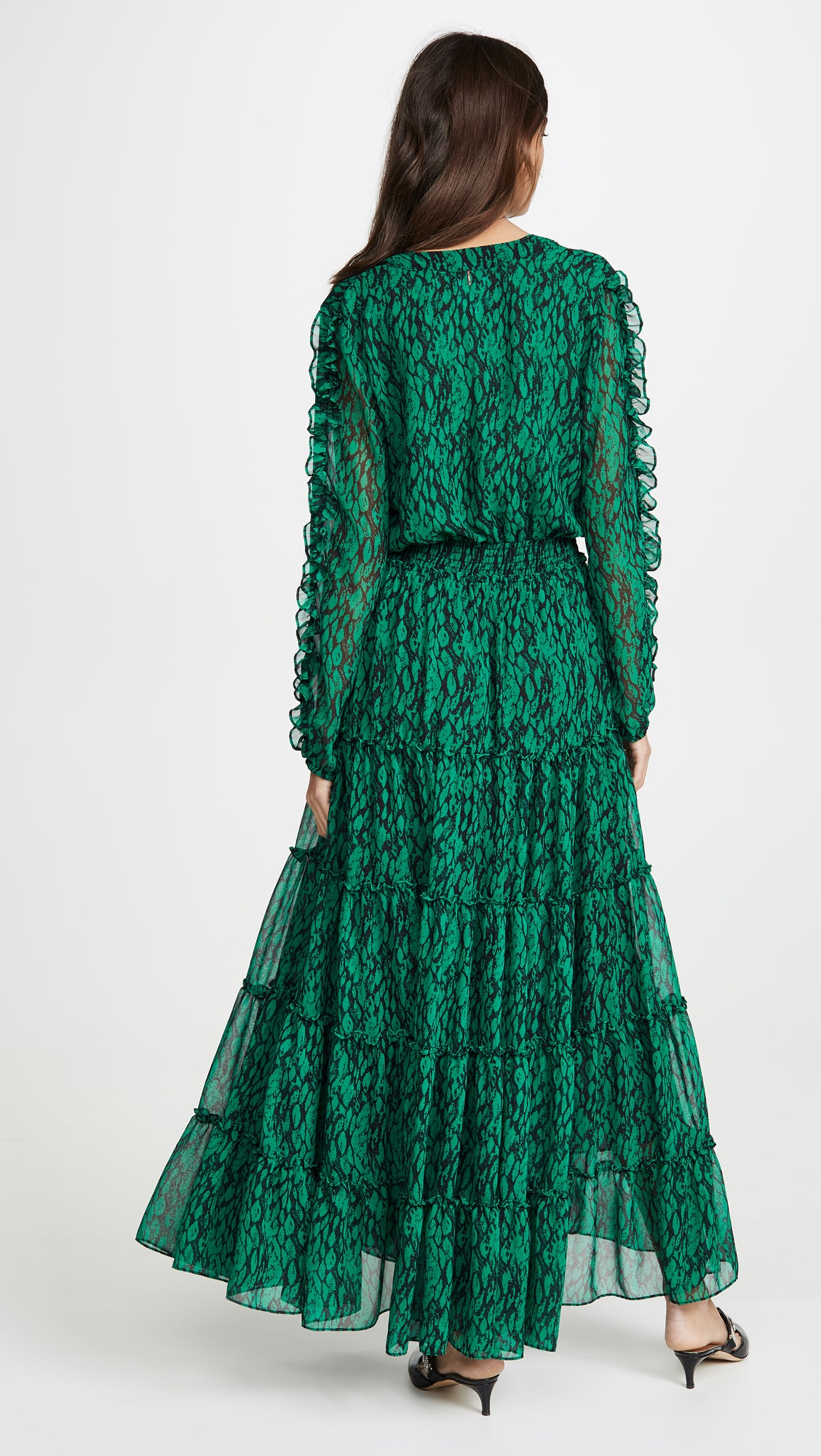 Hadeya Maxi Dress in Emerald Print