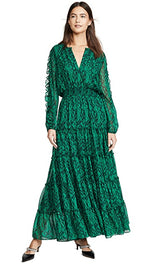 Load image into Gallery viewer, Hadeya Maxi Dress in Emerald Print