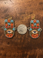 Load image into Gallery viewer, Beaded Hamsa Earrings in Gold/Orange Combo