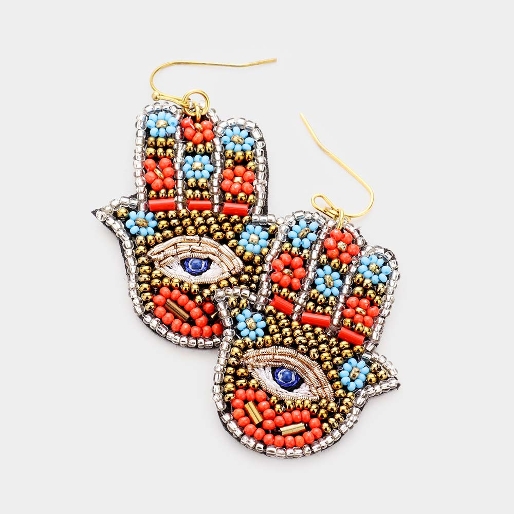 Beaded Hamsa Earrings in Gold/Orange Combo