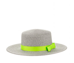 Structured Sun Hat with Ribbon in Silver