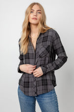 Load image into Gallery viewer, Hunter Plaid Shirt in Charcoal Jet