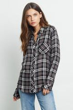 Load image into Gallery viewer, Hunter Plaid Shirt in Black/Blush/Ivory