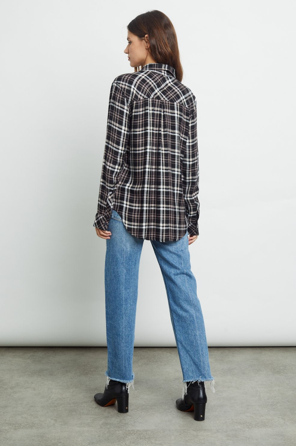 Hunter Plaid Shirt in Black/Blush/Ivory