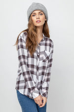 Load image into Gallery viewer, Hunter Plaid Shirt in White/Grey/Peach