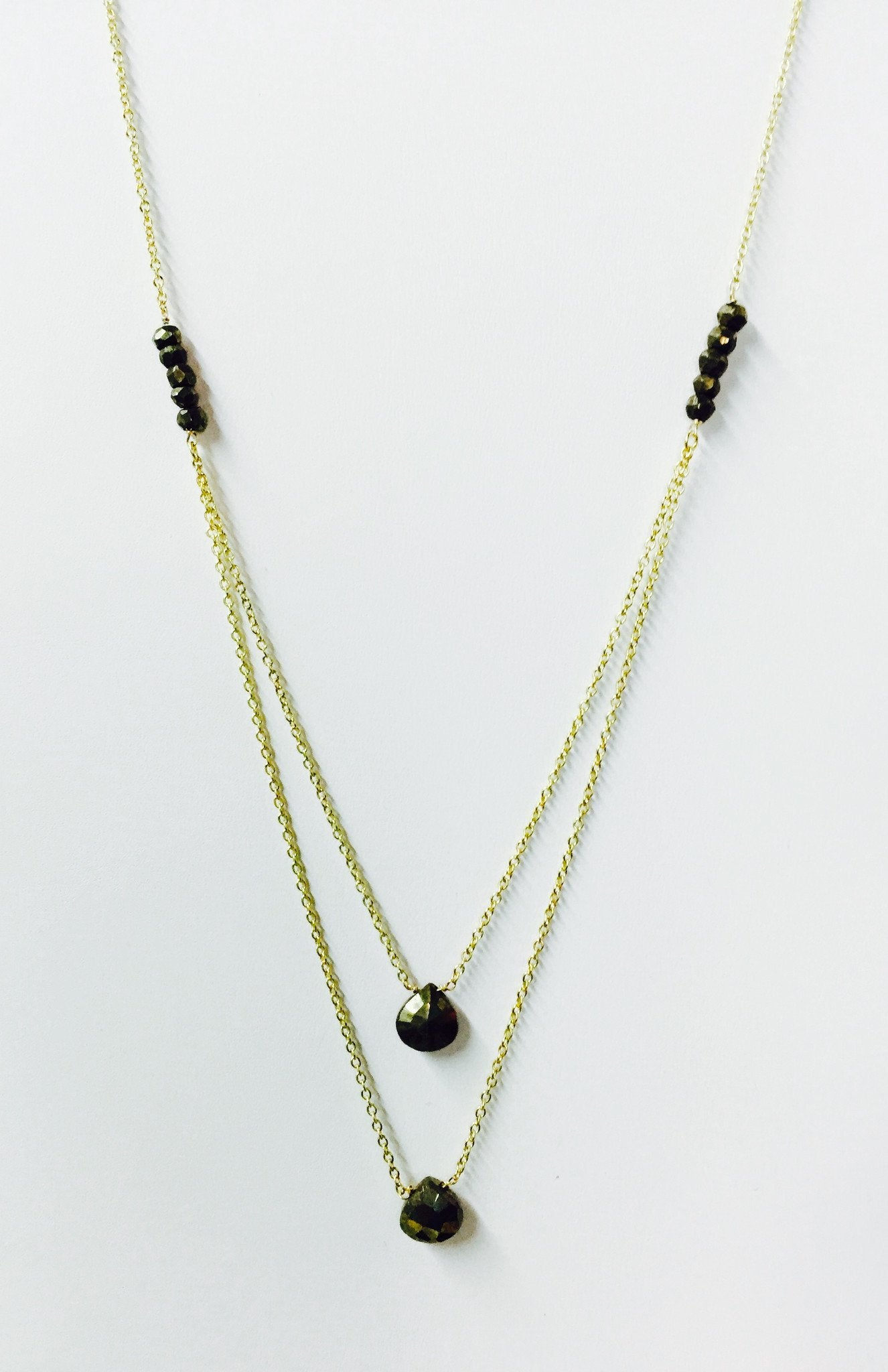 Double Layer Pyrite Drop Necklace