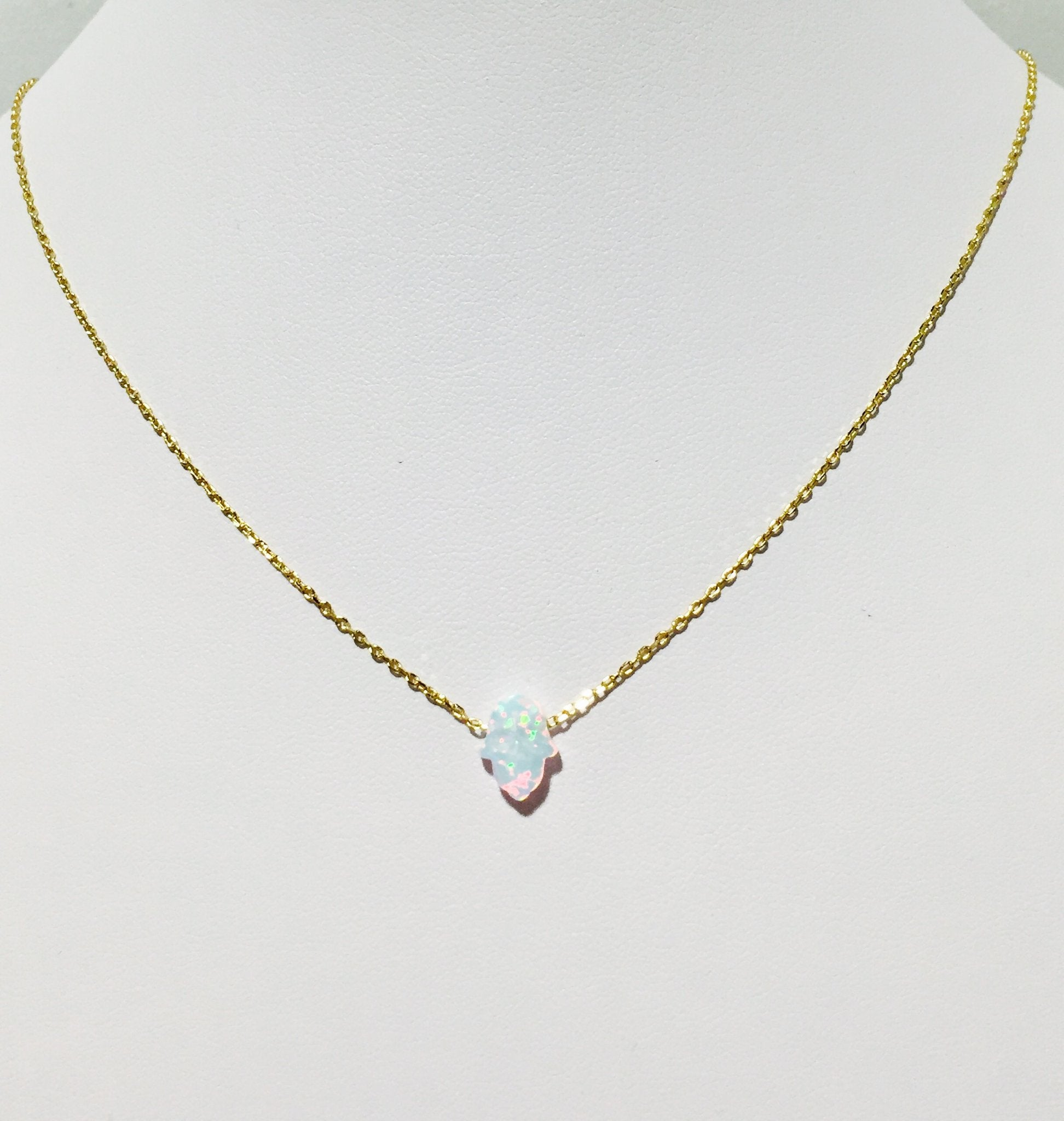 Opal Hamsa Gold Necklace