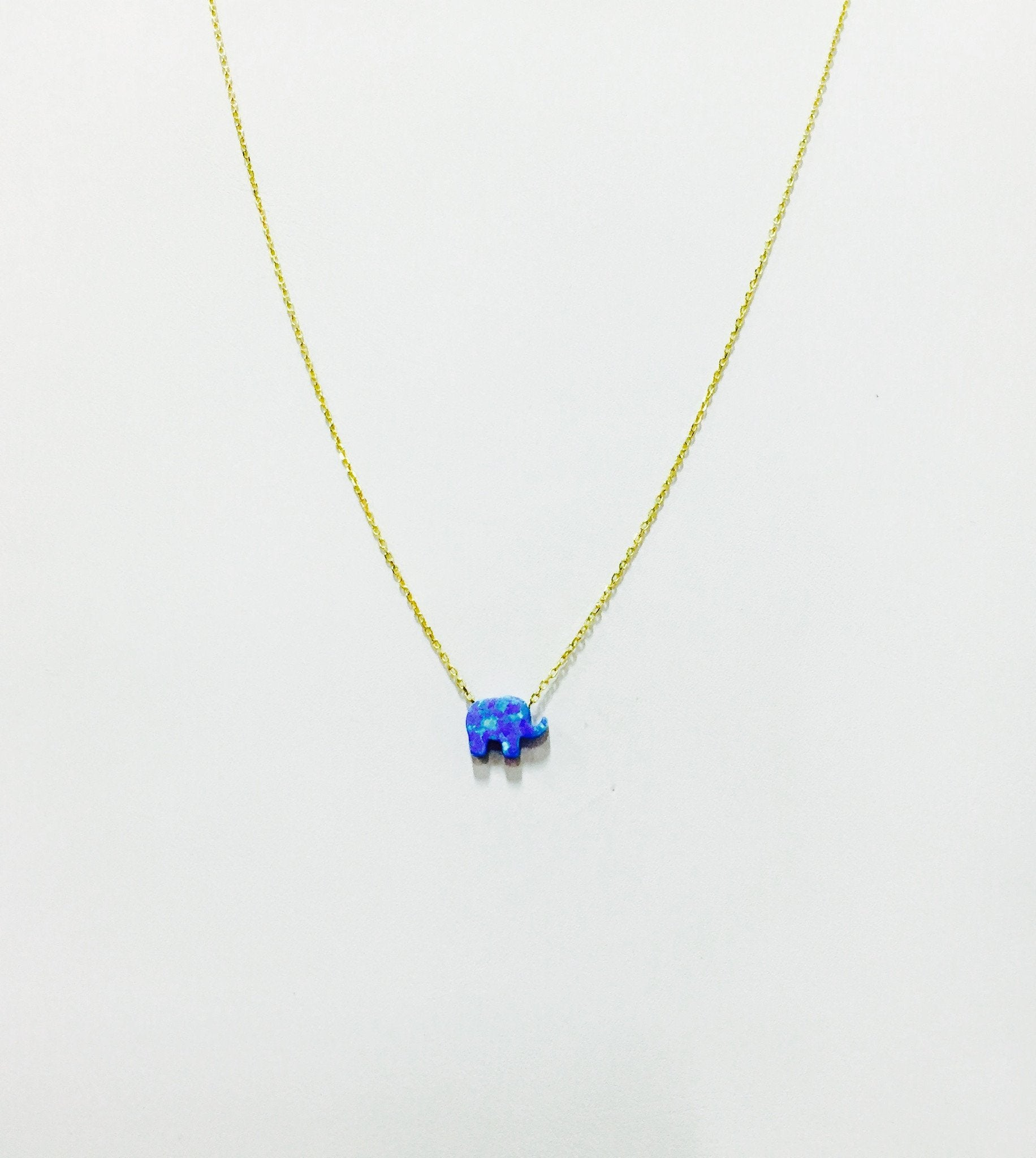 Elephant Necklace in Blue Opal