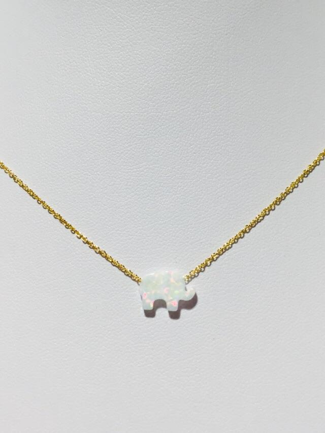 Elephant Necklace in White Opal
