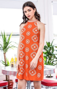 Halter Neck Embroidered Dress in Orange Combo