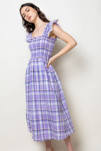 Plaid Smocked Midi Dress in Purple Combo
