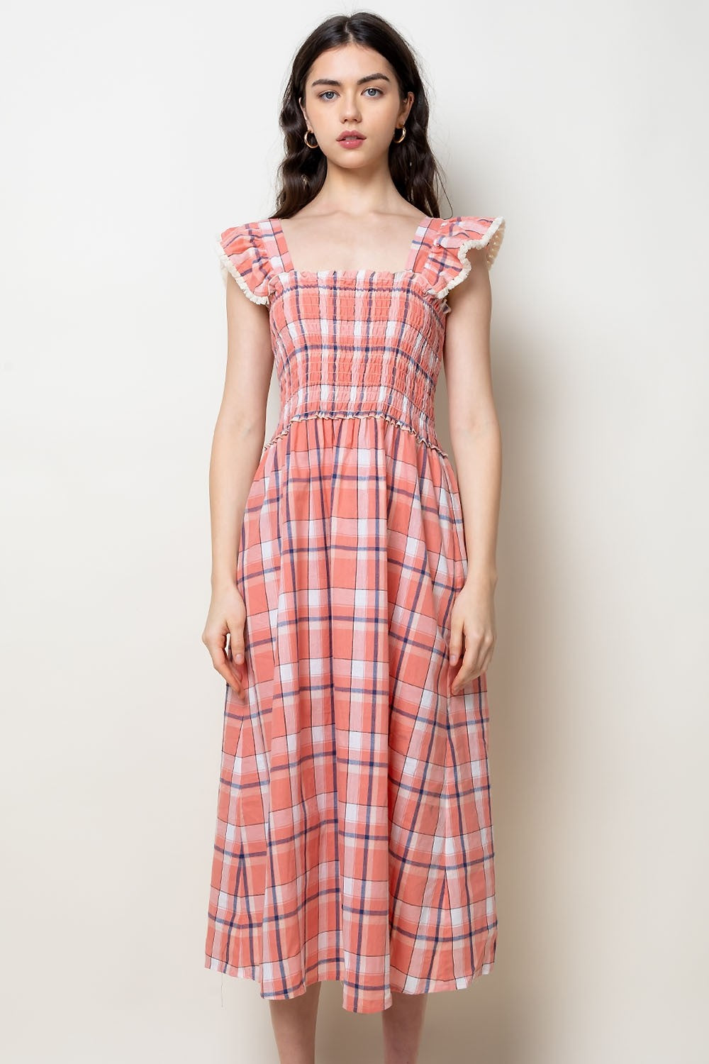 Plaid Smocked Midi Dress in Peach Combo