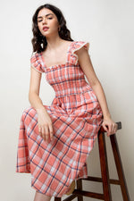 Load image into Gallery viewer, Plaid Smocked Midi Dress in Peach Combo