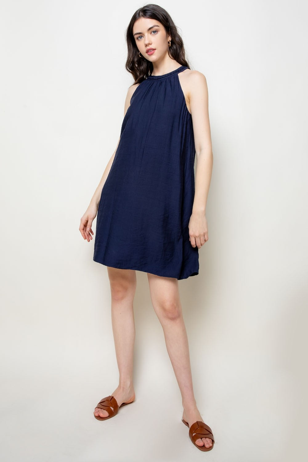 Braided Halter Neck Dress in Navy